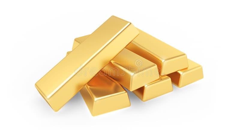 Gold bars isolated on white background. 3d illustration royalty free illustration