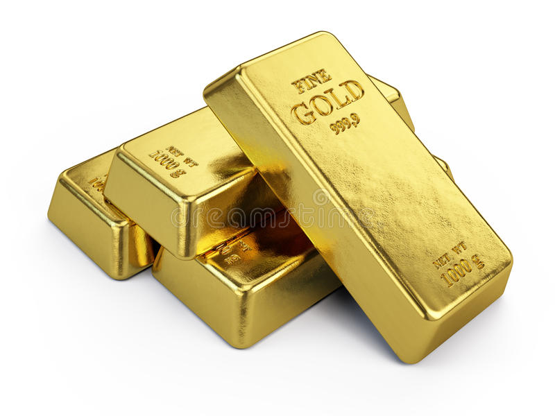 Gold Bars. Isolated on white - 3d render