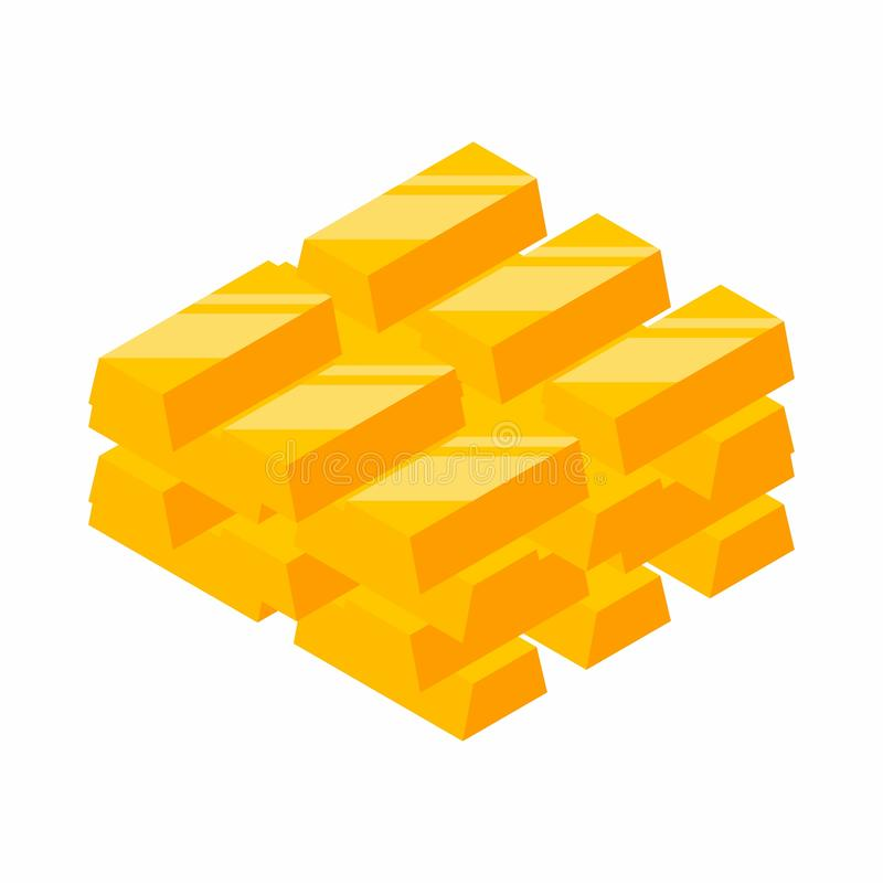 Gold Bars Pile, Isometric, Vector, Flat icon stock illustration