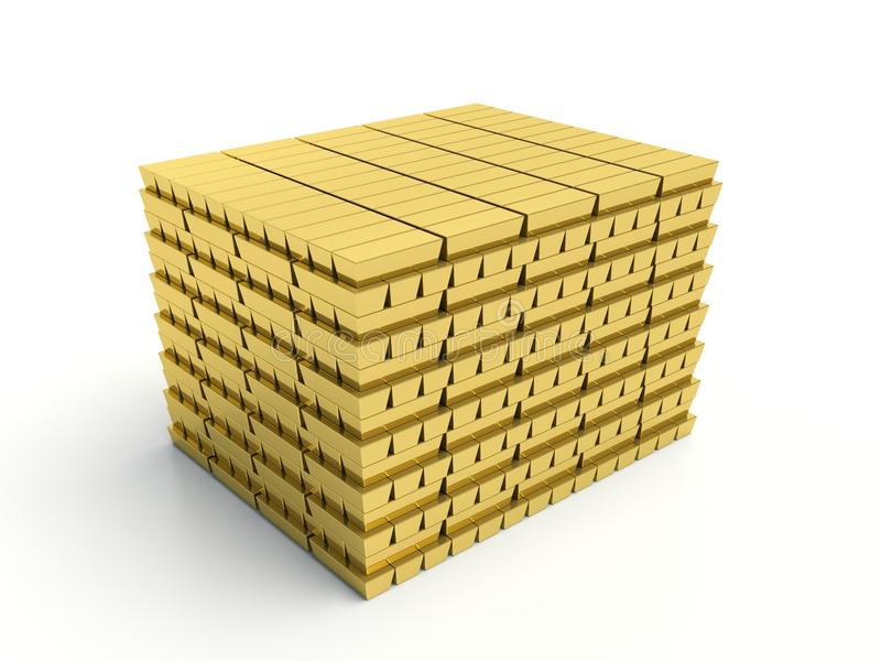 Gold bars pile on white background stock illustration