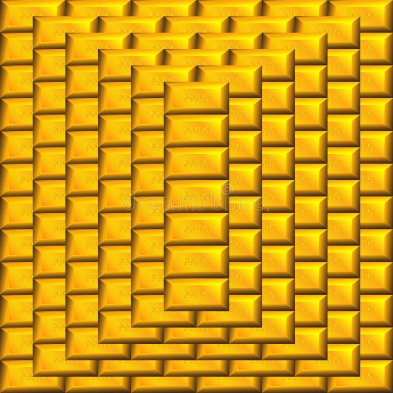 Gold bars pyramid. Gold bars bank metal pyramid royalty free illustration