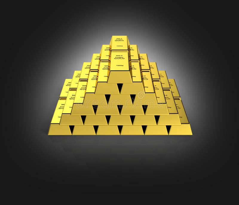 Gold bars in a pyramid on black gradient background  3d vector illustration