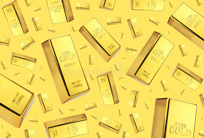 Gold bars rain on gold background.  stock photography