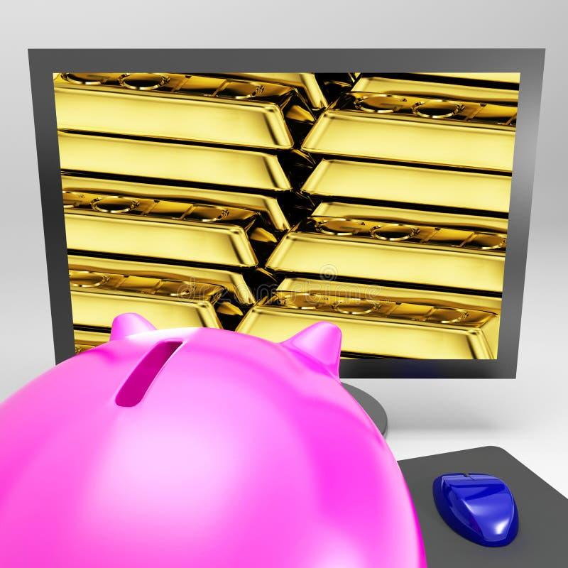Download Gold Bars Screen Shows Shiny Valuable Treasure Stock Illustration - Image: 29397737