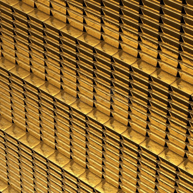 Gold Bars stacked in rows behind bars royalty free stock images