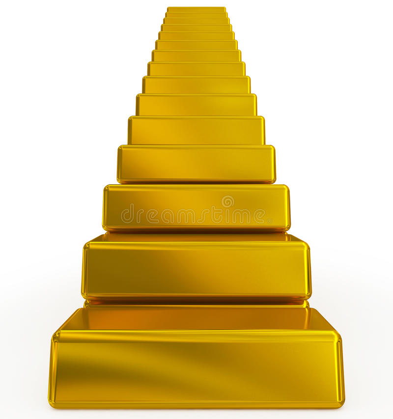 Gold bars stairs. Isolated on white