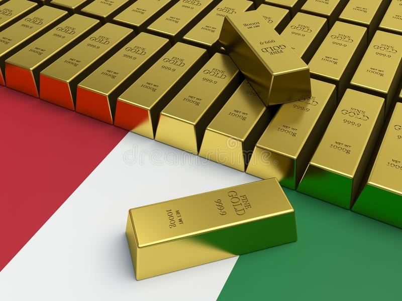 Gold bars on top of Italian flag. vector illustration