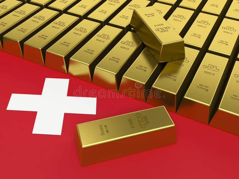 Gold bars on top of a switzerland flag. stock illustration