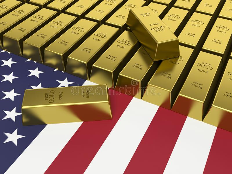 Gold bars on top of a USA flag. royalty free illustration
