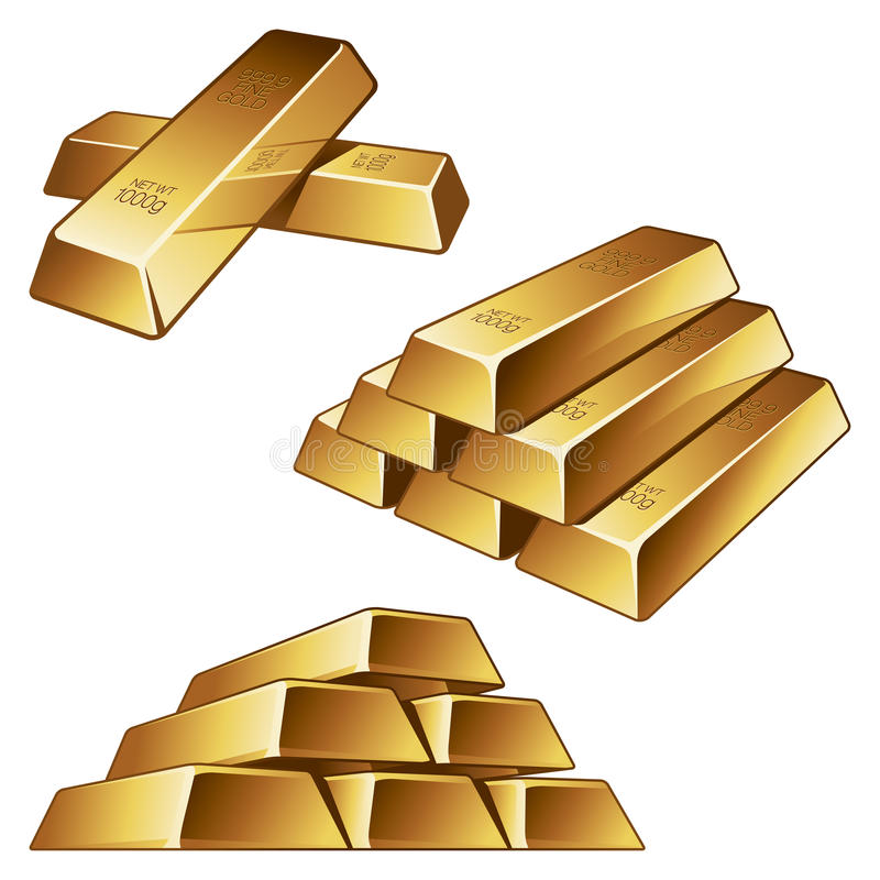 Download Gold Bars On White Background Stock Vector - Image: 24044052