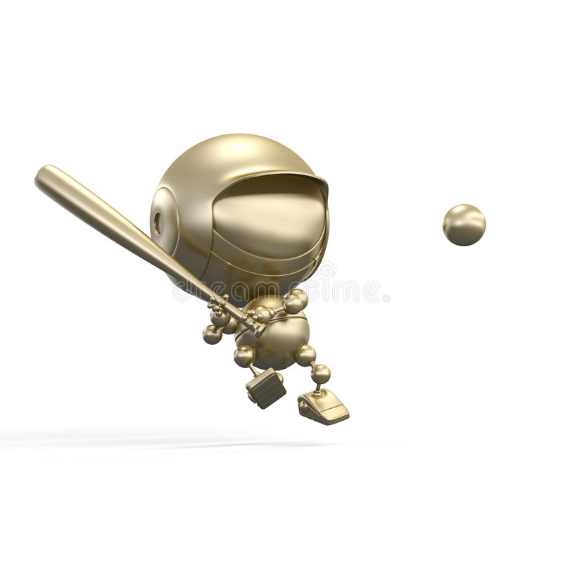 Gold baseball player beats the ball royalty free illustration