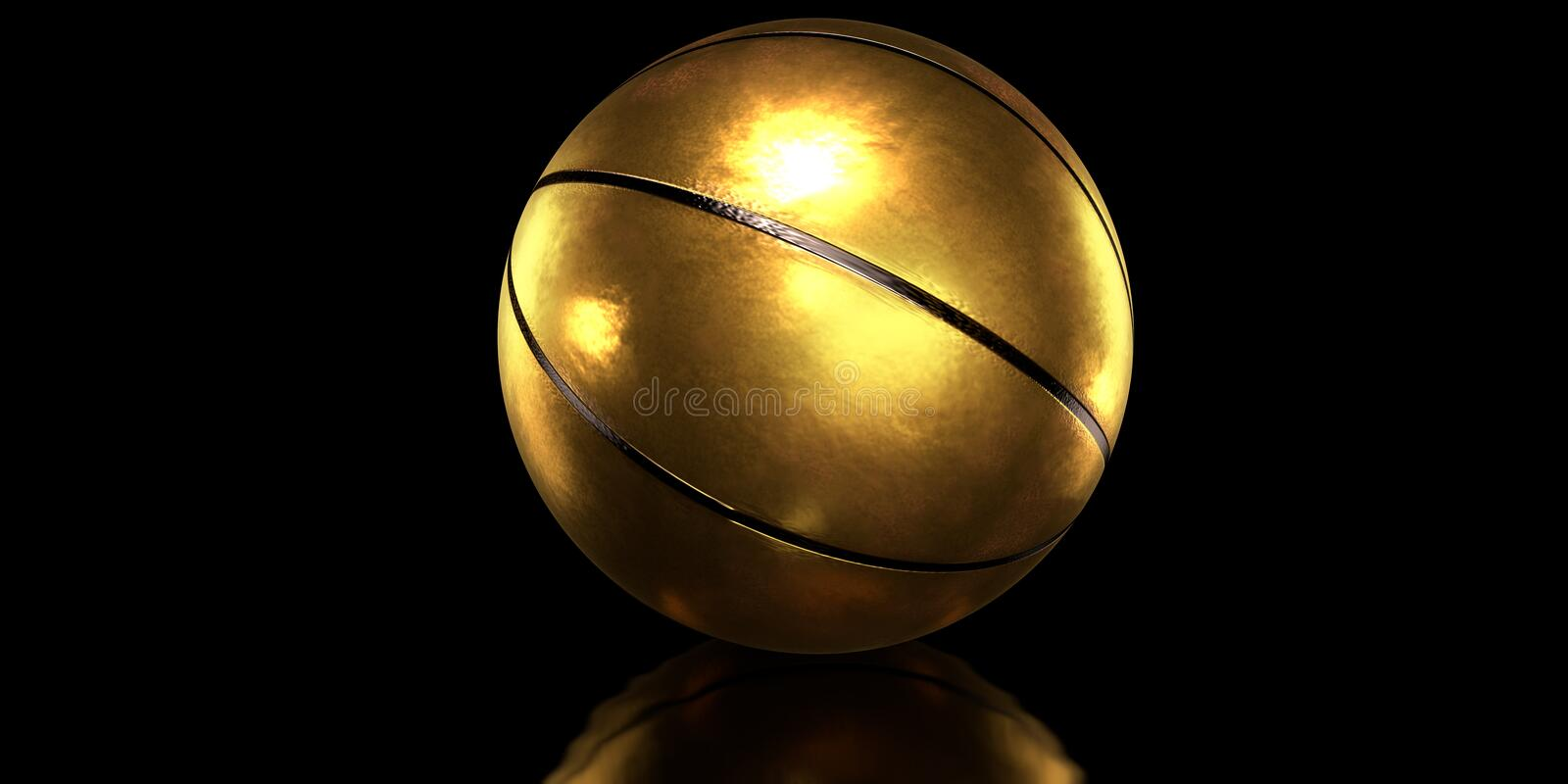 Gold basketball ball. Golden basketball ball on black background royalty free stock photo