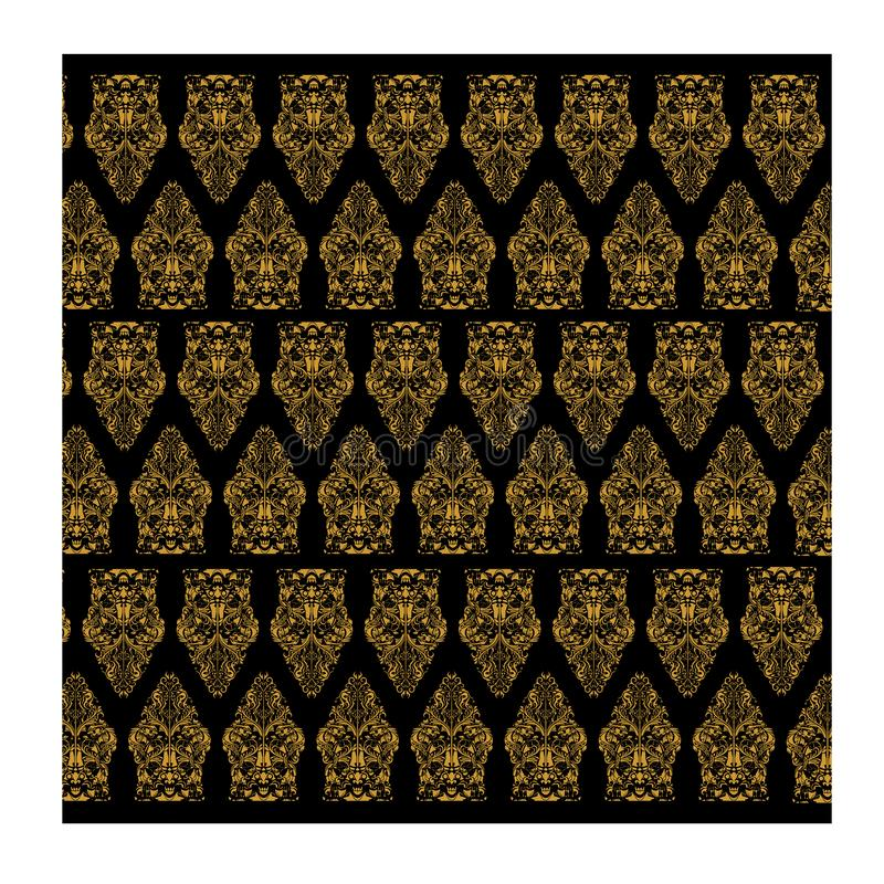 Gold Batik seamless vector and black background for fashion textile print. royalty free stock image