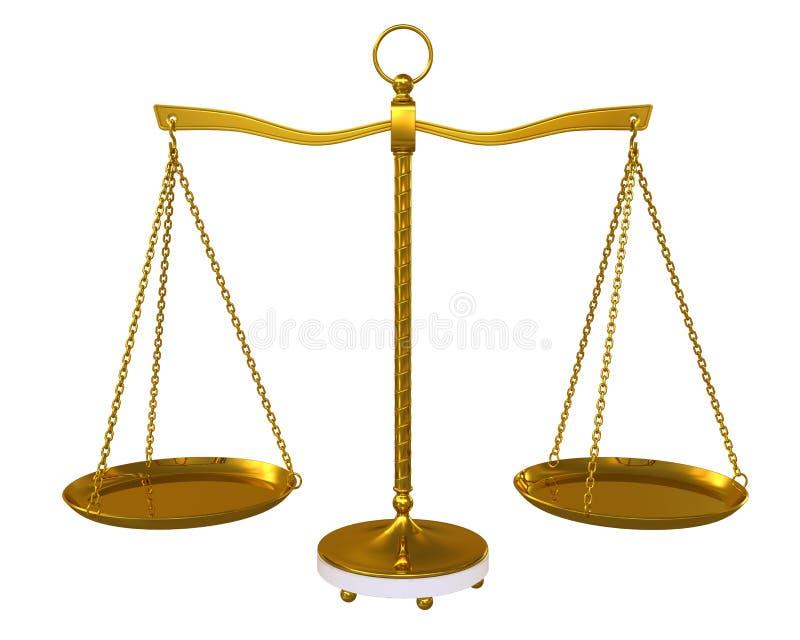 Gold beam balance stock illustration