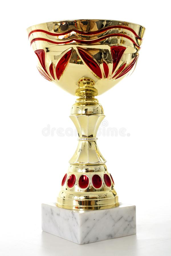 Gold beautiful shiny three trophy. Isolated white studio photo.. royalty free stock images