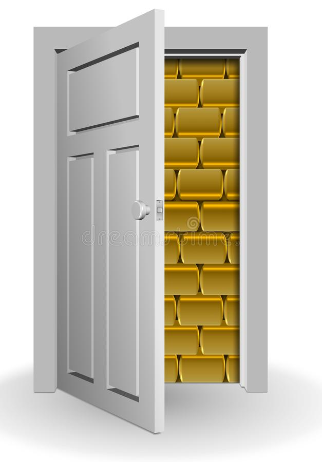Gold behind door vector illustration