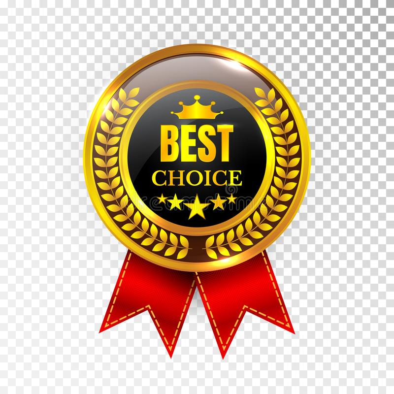 Gold Best Choice Label Illustration Golden Medal Label Icon Seal Sign Isolated on Transparent Background. Vector vector illustration