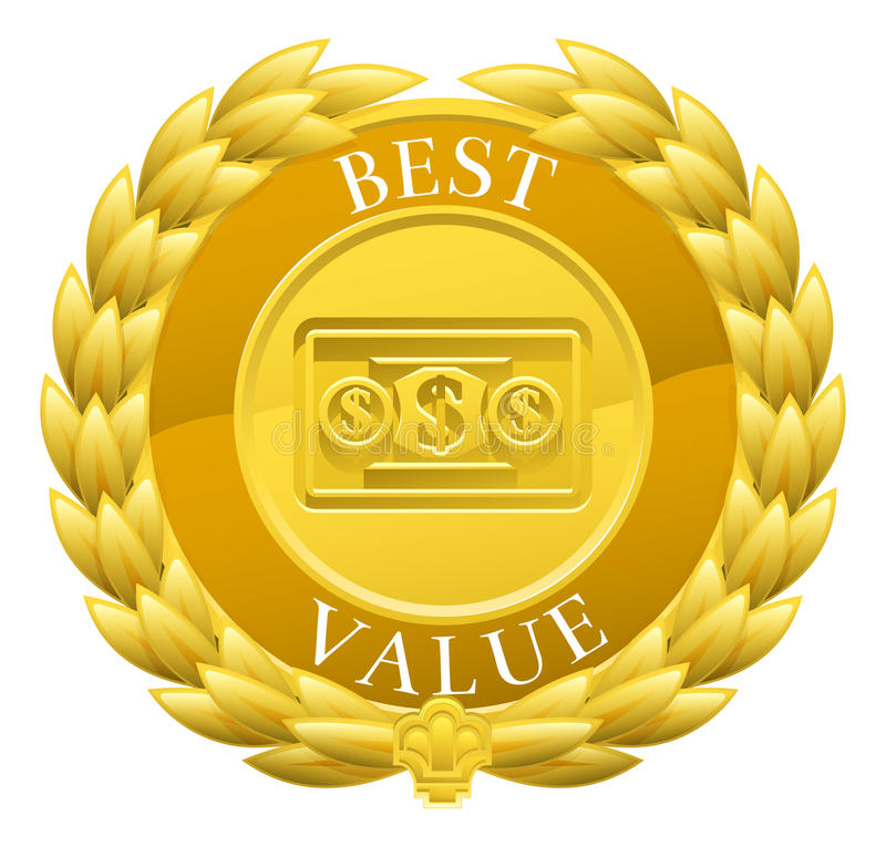Gold Best Value Winner Laurel Wreath Medal royalty free illustration
