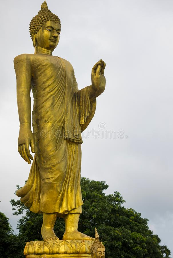 Gold Big Buddha in mountain temple is highest point of Koh Sumui. Thailand stock image