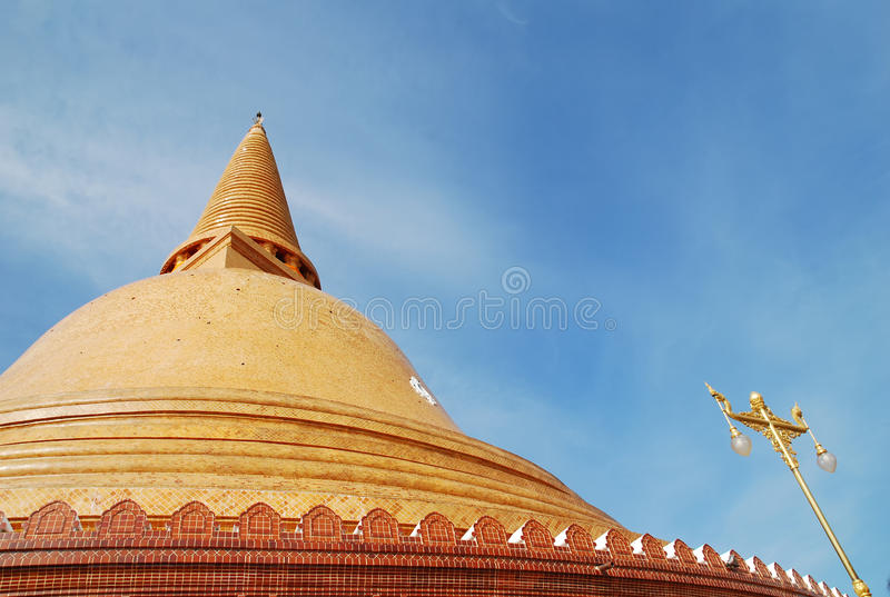 The gold big pagoda in thailand royalty free stock photos