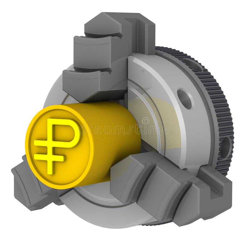 Lathe chuck and workpiece with the symbol of the Russian ruble. Gold billet with the symbol of the Russian ruble in the lathe chuck. Isolated. 3D Illustration vector illustration