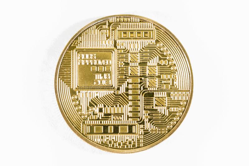 Gold bitcoin coin close up. Isolate Crypto currency royalty free stock images
