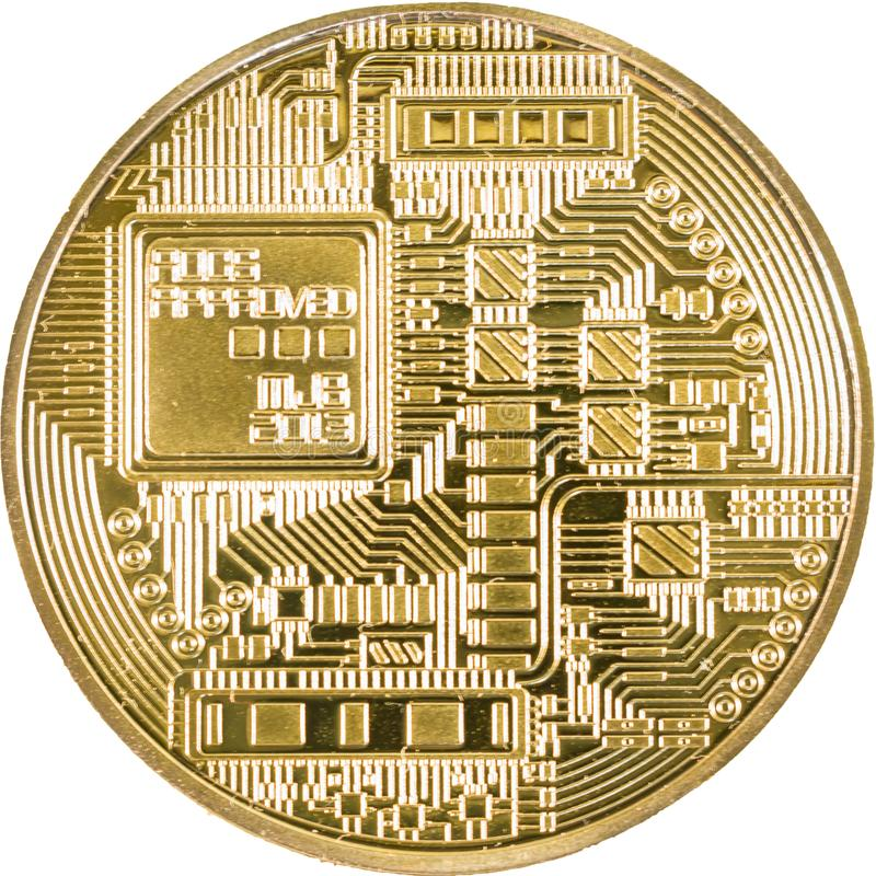 Gold bitcoin coin close up. Isolate Crypto currency royalty free stock photos