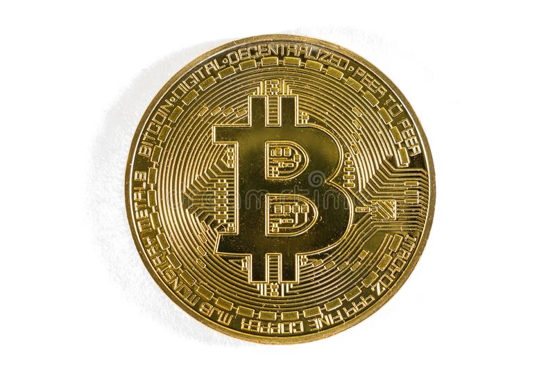 Gold bitcoin coin close up. Isolate Crypto currency royalty free stock image