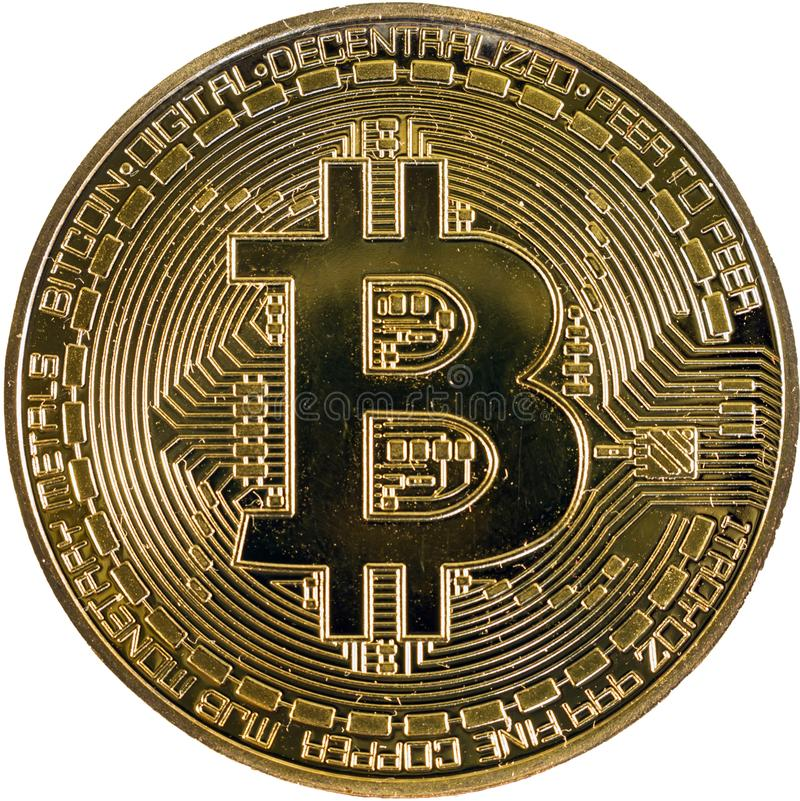Gold bitcoin coin close up. Isolate Crypto currency royalty free stock photography