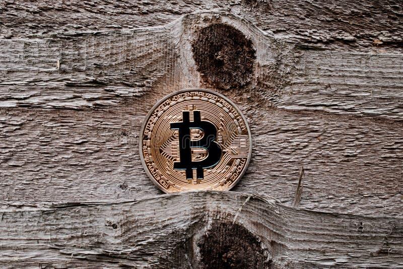Gold bitcoin coin stock photo