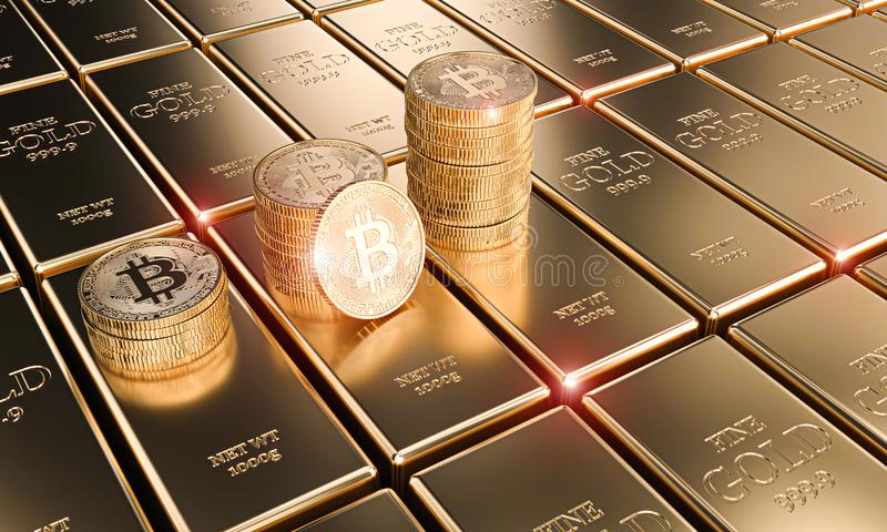 Gold bitcoin coins on classic ingots, concept of cryptocurrency and economy. 3d render image royalty free illustration