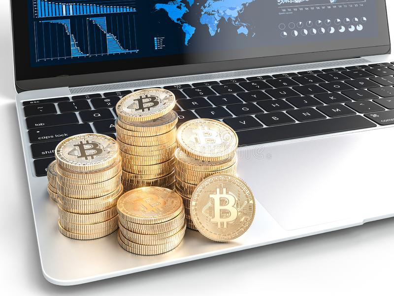 Gold bitcoin coins on modern laptop with financial charts in the background. cryptocurrency concept. 3d image render stock illustration