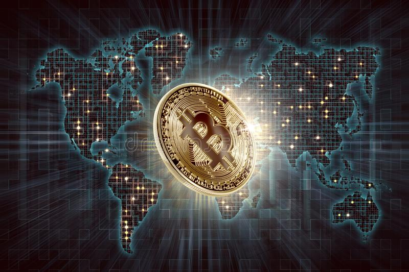 Gold bitcoin and digital world map background stock illustration download gold bitcoin and digital world map background stock illustration illustration of business cryptography gumiabroncs Images