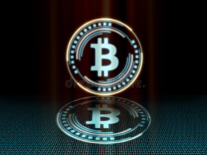 Gold bitcoin with glowing blue led color giving a feeling of sci-fi science. stock photo