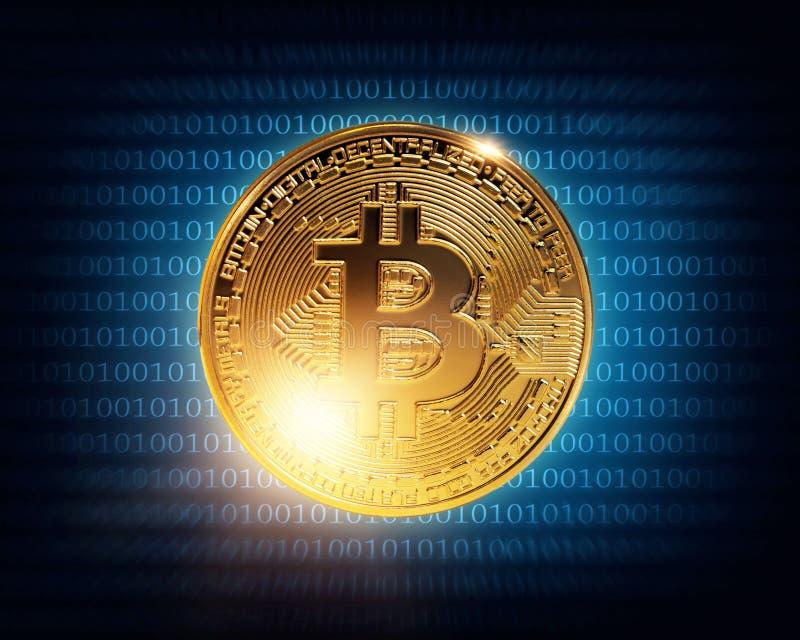 Gold bitcoin. On a wdark blue background vector illustration