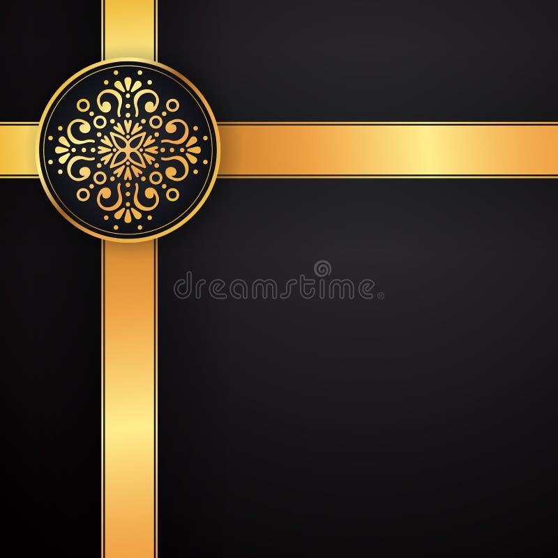 Gold black background design vector. Sun Indian pattern. Eye peacock feather frame. Oriental mandala swirl ornament for royalty free illustration