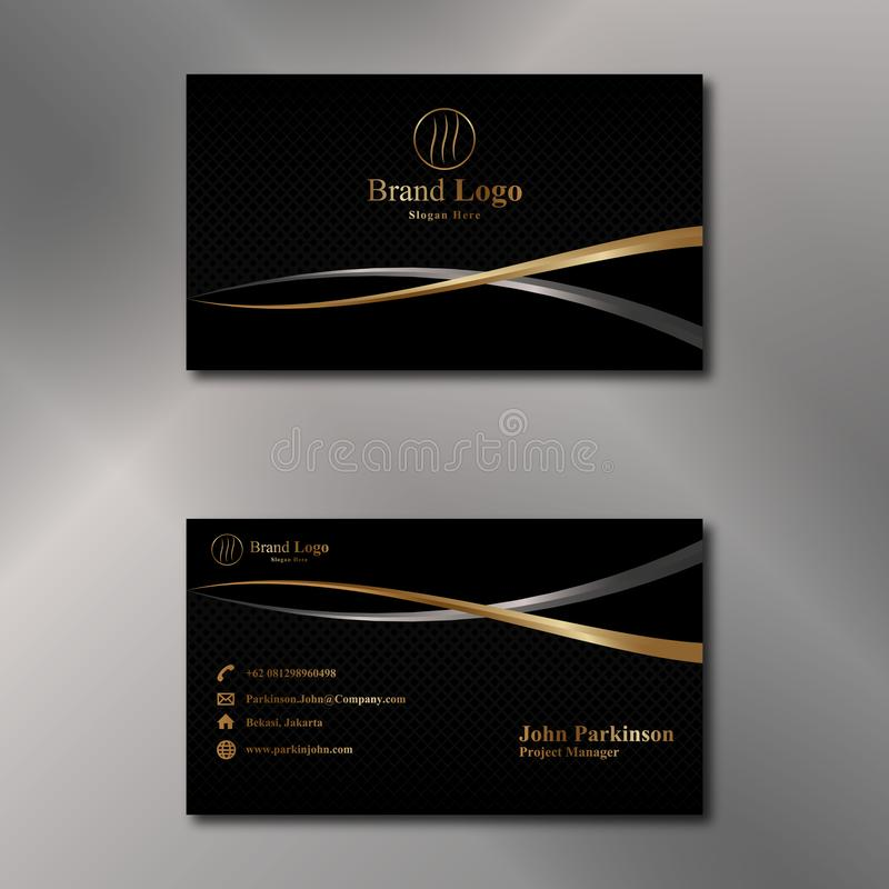 Gold and Black Business Card Vector royalty free illustration