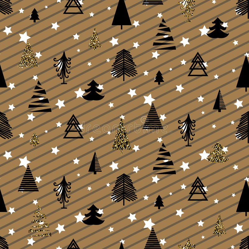 Gold and black christmas winter woods seamless pattern. royalty free illustration
