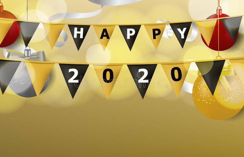 gold and black decoration flag with word happy new year stock images