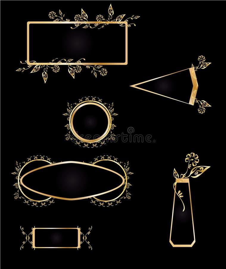 Gold and black frame element set vector illustration