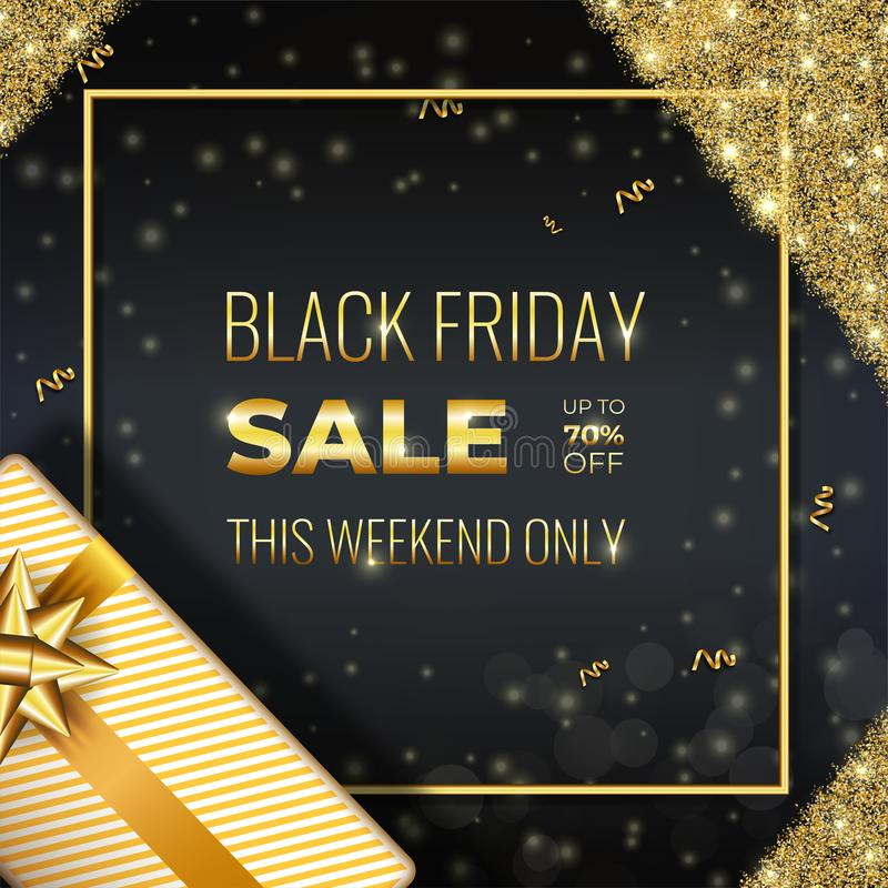 Gold Black Friday sale card with realistic gift and glowing golden sparkles on Dark Background with square frame. Social Media Banner Design Template good for vector illustration
