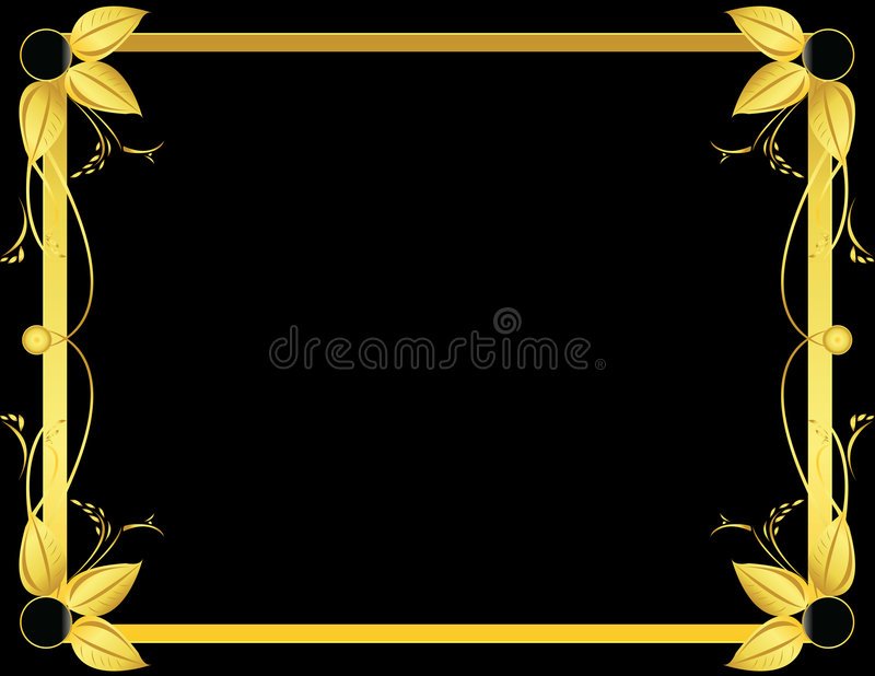 Gold and black leaf frame stock illustration