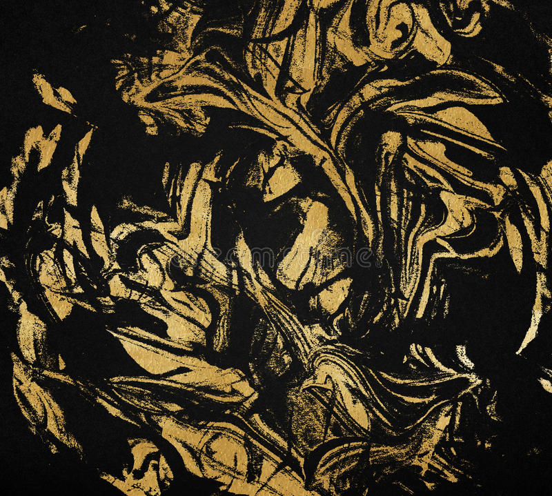 Gold and black marble texture. Mixed golden painting, dark luxury background vector illustration