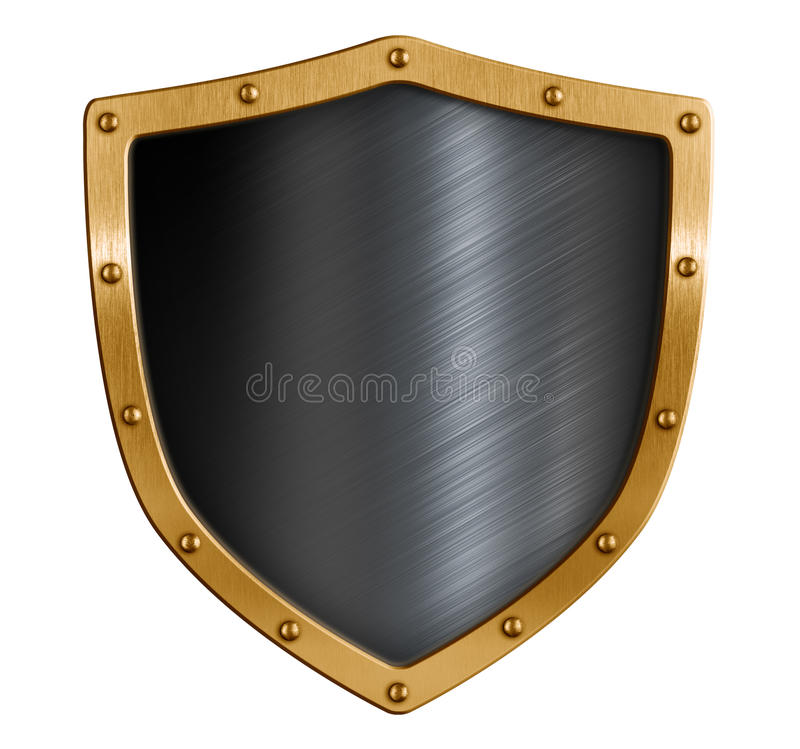 Gold and black metal shield isolated 3d illustration vector illustration