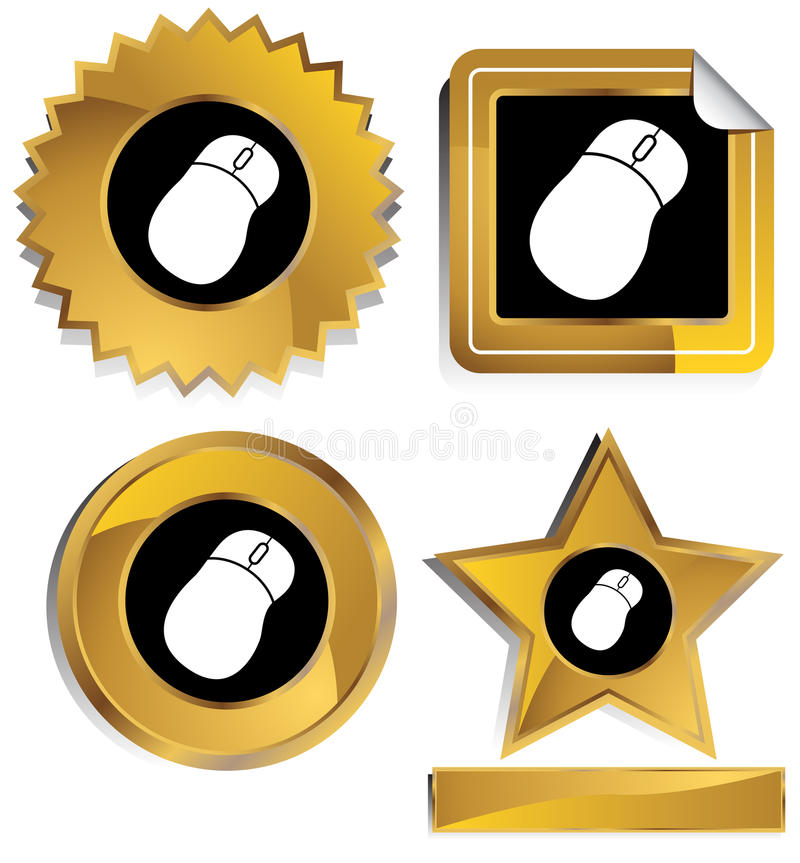 Gold and Black - Mouse. Set of 3D gold and black chrome icons - computer mouse vector illustration