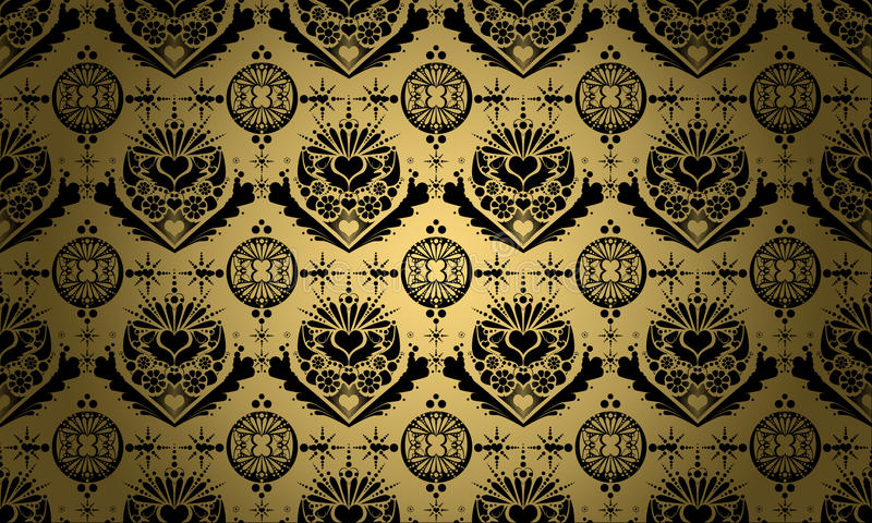 Gold with black ornament stock illustration