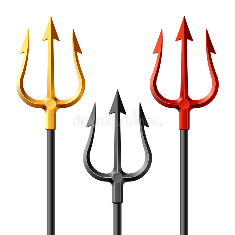 Gold, black and red tridents vector illustration