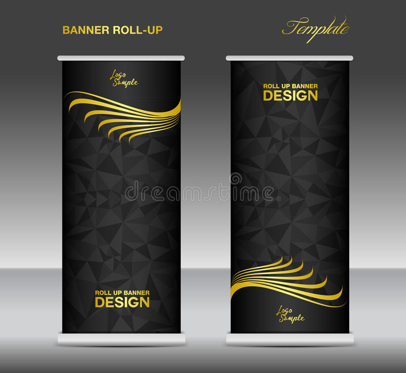 gold and black roll up banner template vector  banner design  s stock vector