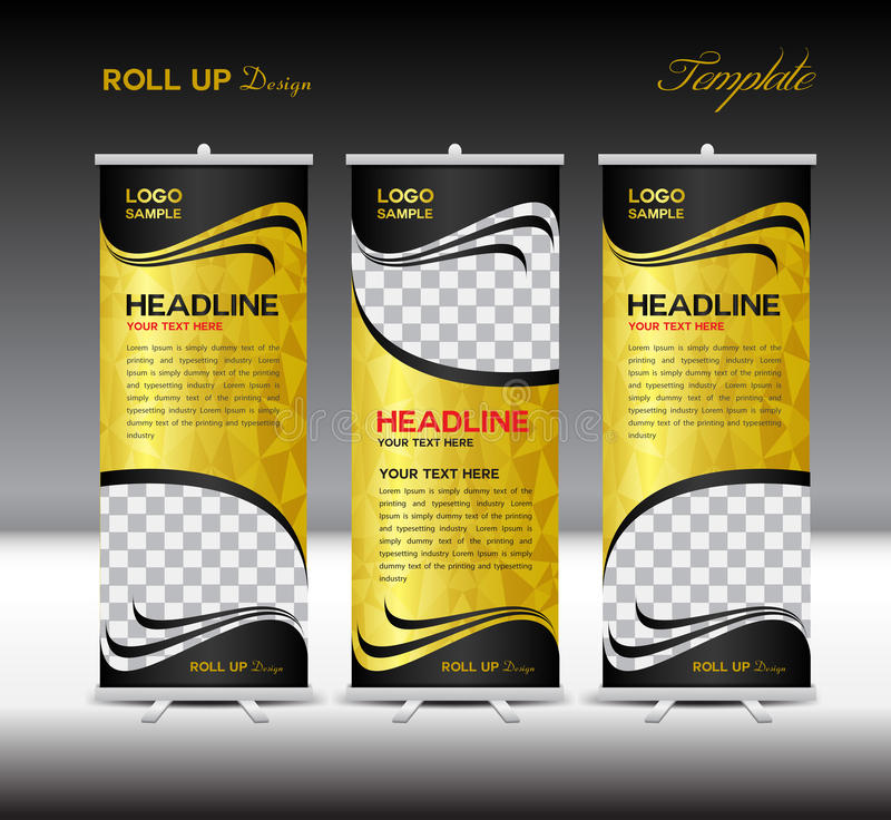Gold and black Roll Up Banner template vector illustration royalty free illustration