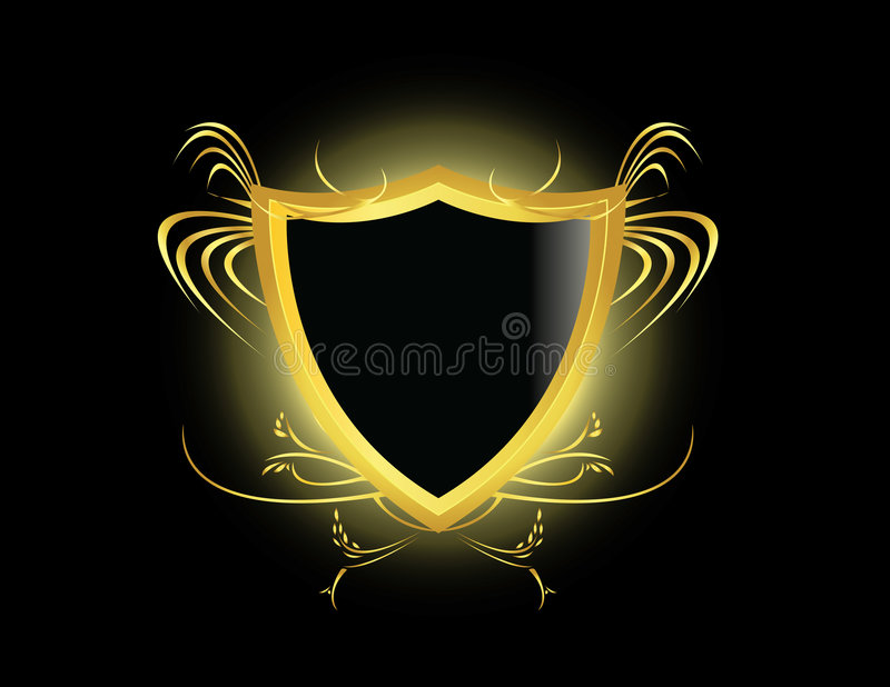Gold black shield vector illustration